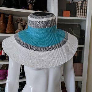 Nordstrom Blue White Black Floppy Derby Straw Hat
